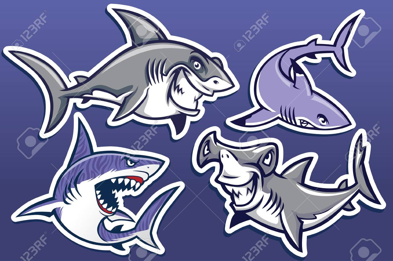 set collection of shark character - 122052469