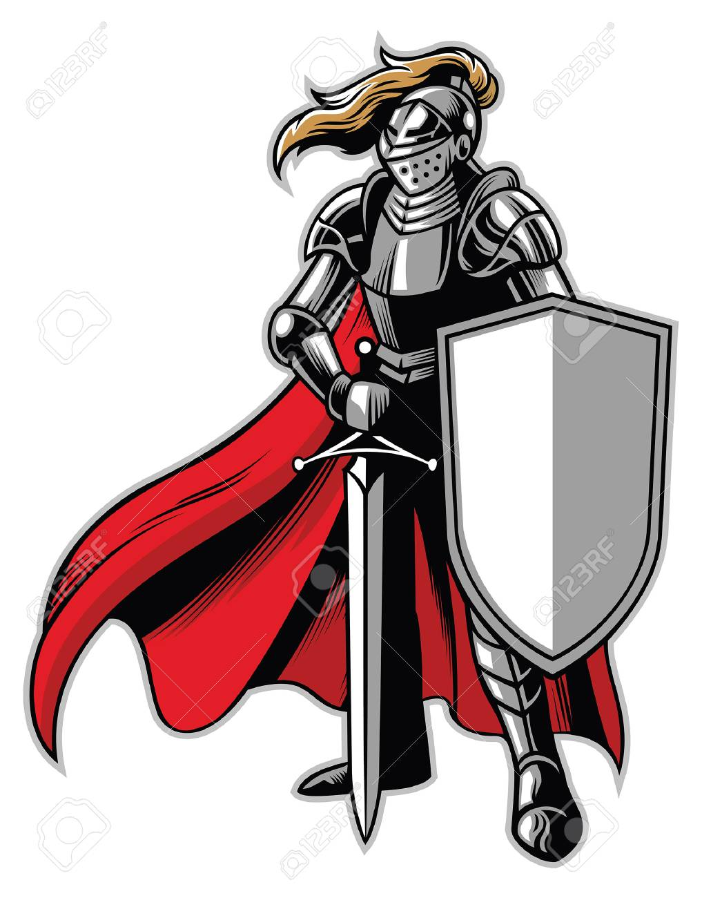 knight mascot standing with shield and sword - 122053174