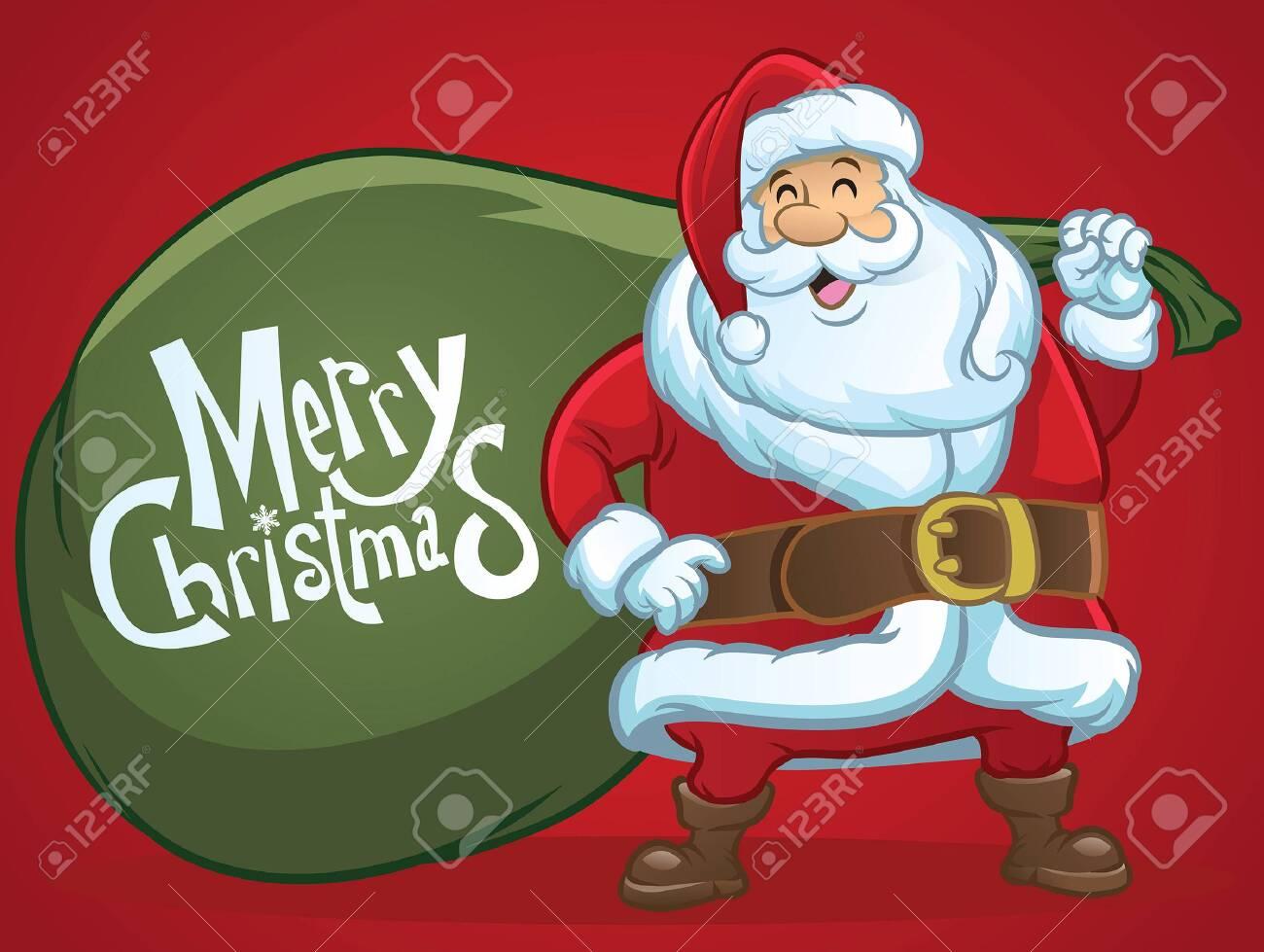 cartoon of santa claus hold the big bag - 126488636