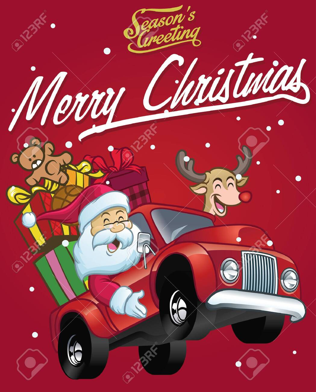 christmas greeting card with santa claus and the deer riding car - 126488642