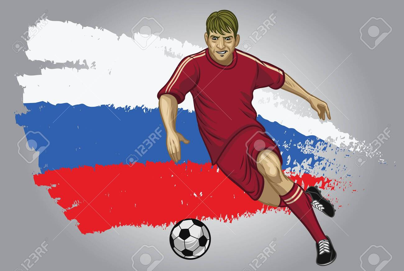russia soccer player dribbling the ball with russia flag background - 128159796