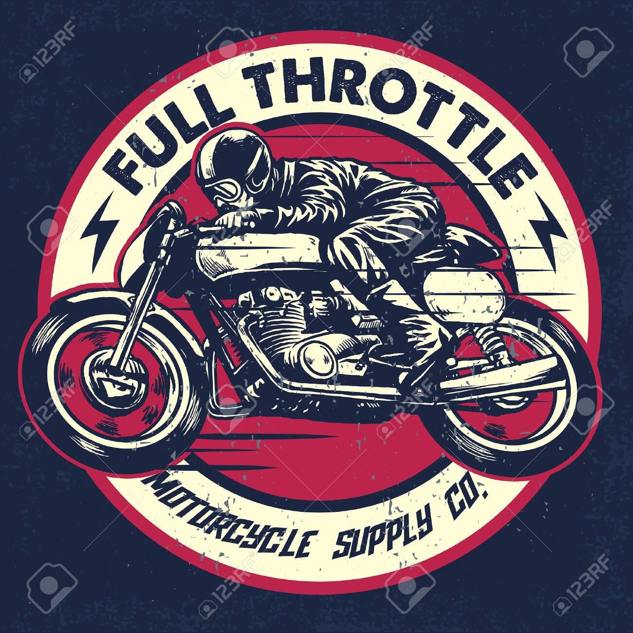 racing badge of motorcycle race in vintage style - 128381881