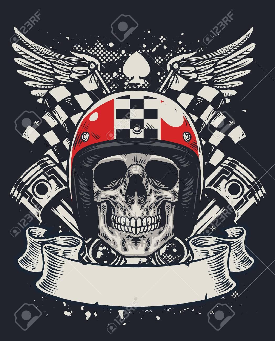 Classic Skull Racer Vintage Printed T shirts Racing Bike Motorbike-Free Post