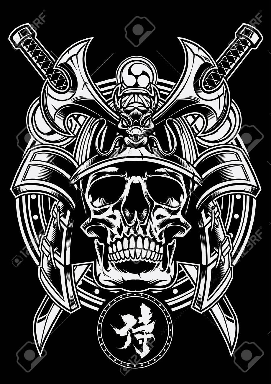 samurai warrior of skull in black and white - 129792755