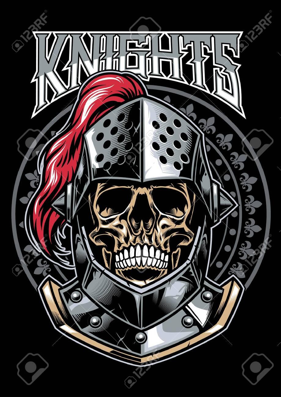 knight warrior skull in t-shirt style design - 129792761
