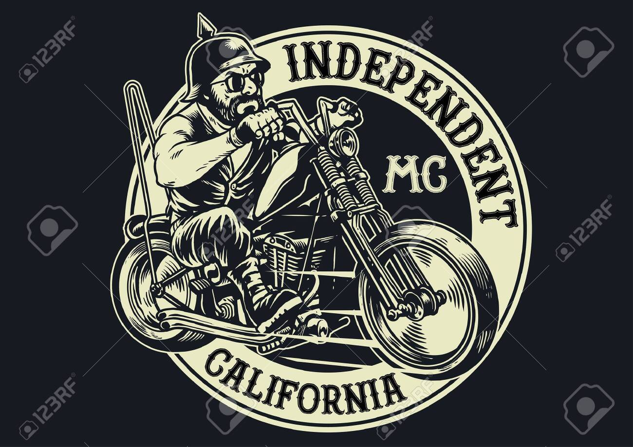 motorcycle club badge with man riding chopper motorcycle - 129792822