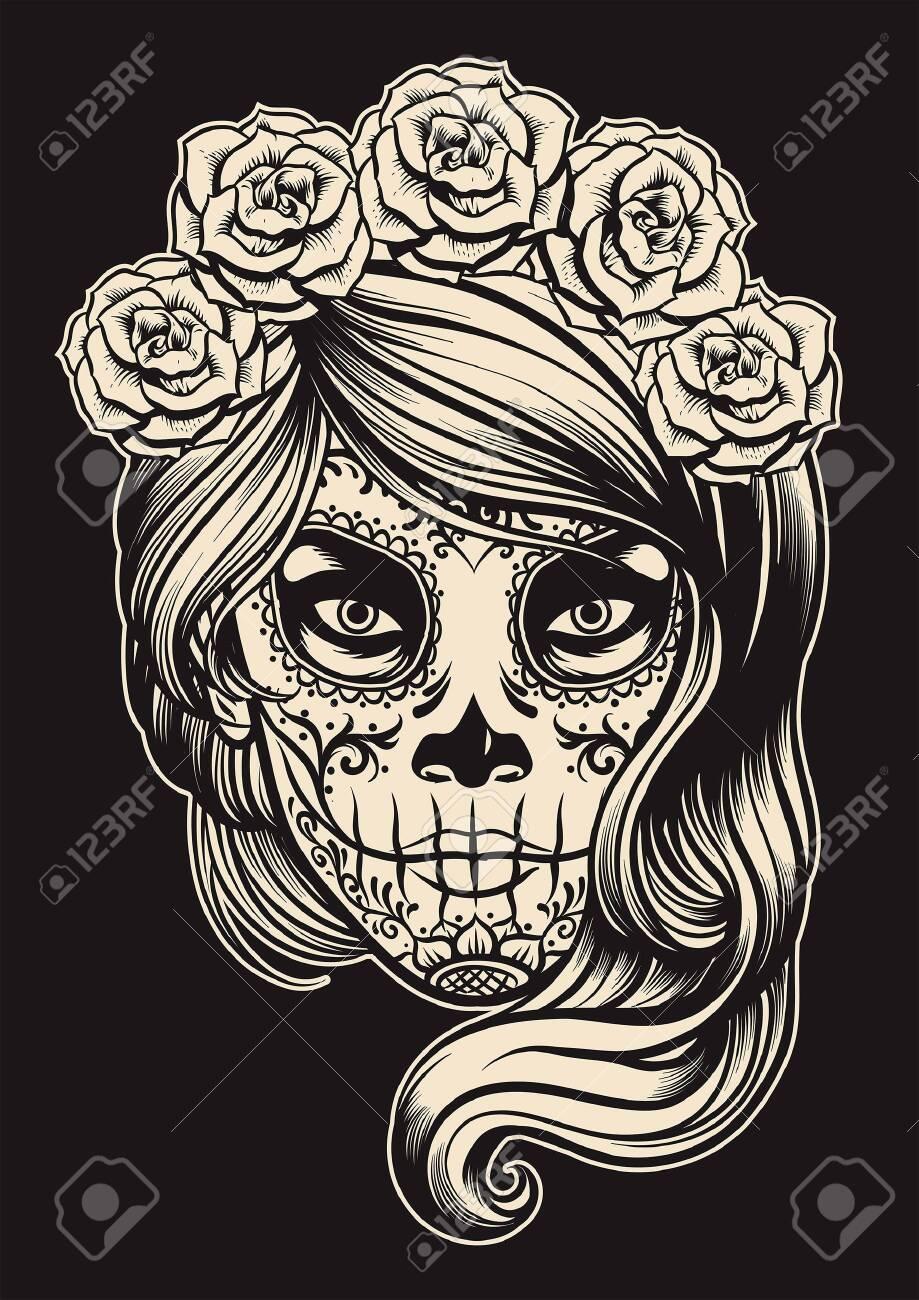 black and white of sugar skull make up - 129792966