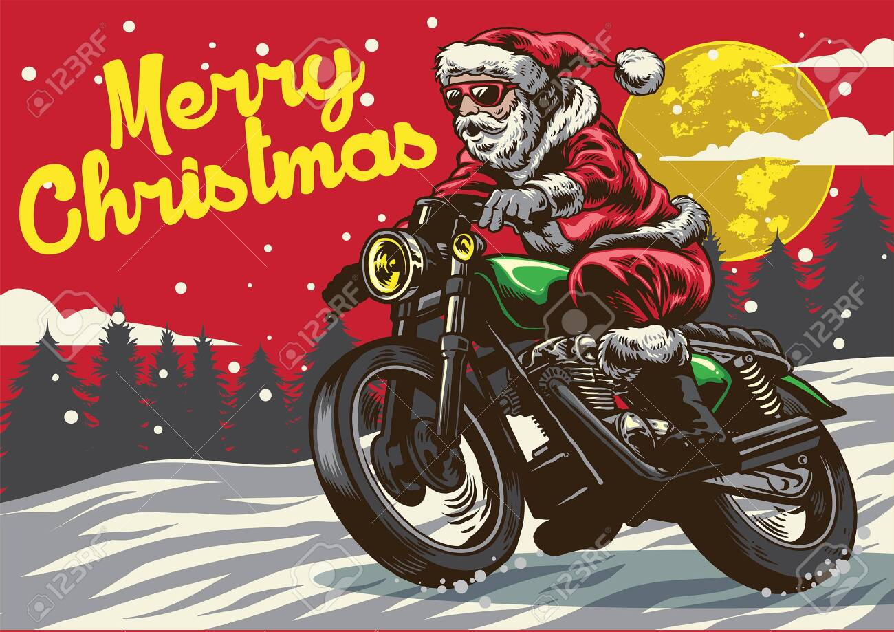 hand drawing style of santa claus riding vintage motorcycle - 131441404