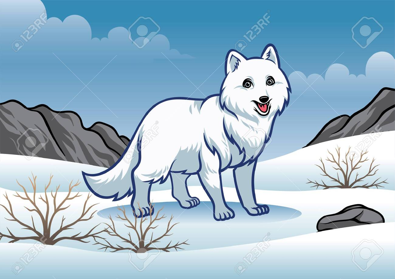 white fox in the middle of snowy nature - 132477994