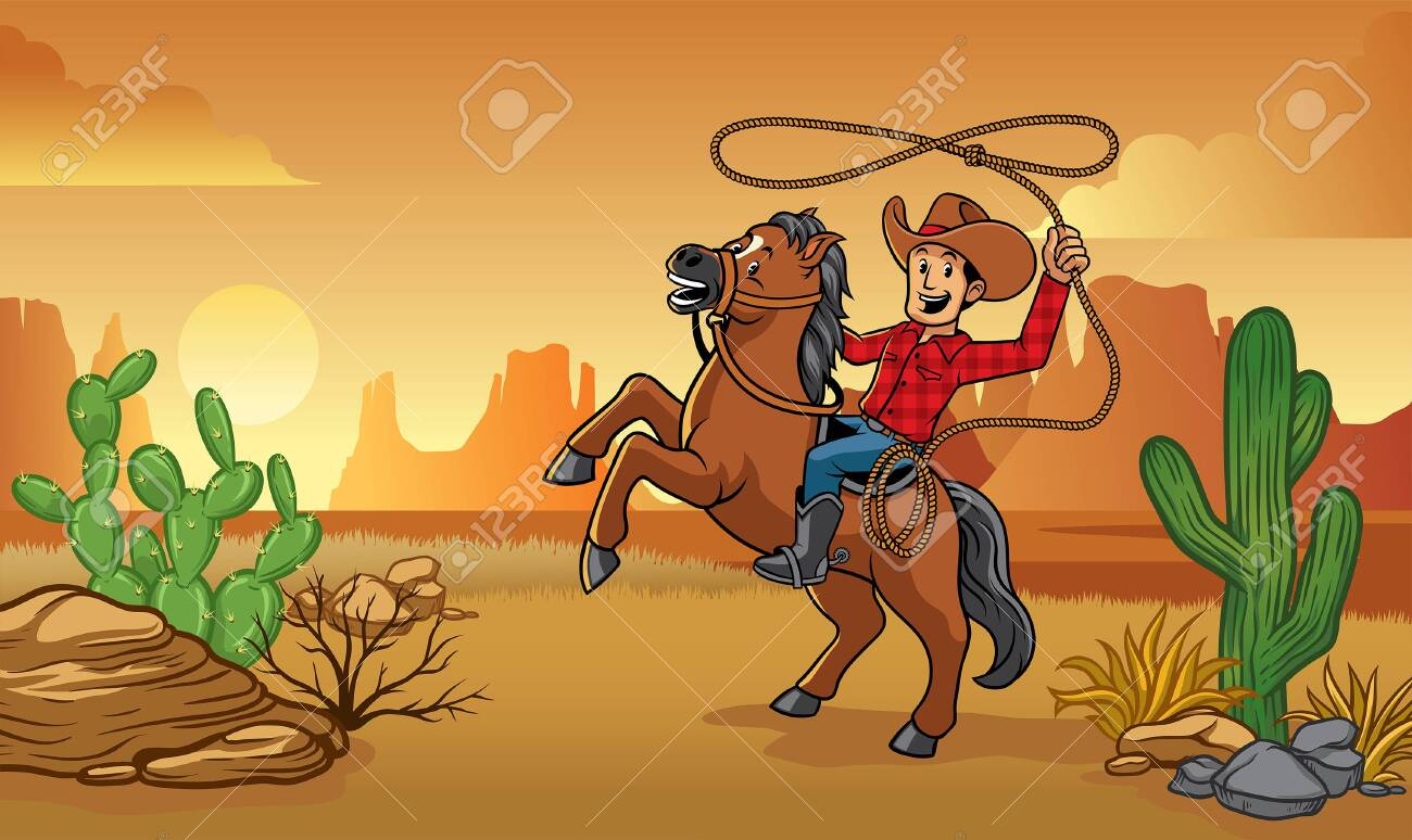 Wild West Cowboy Cartoon Riding A Horse With Desert Background Royalty Free Cliparts Vectors And Stock Illustration Image 134856939