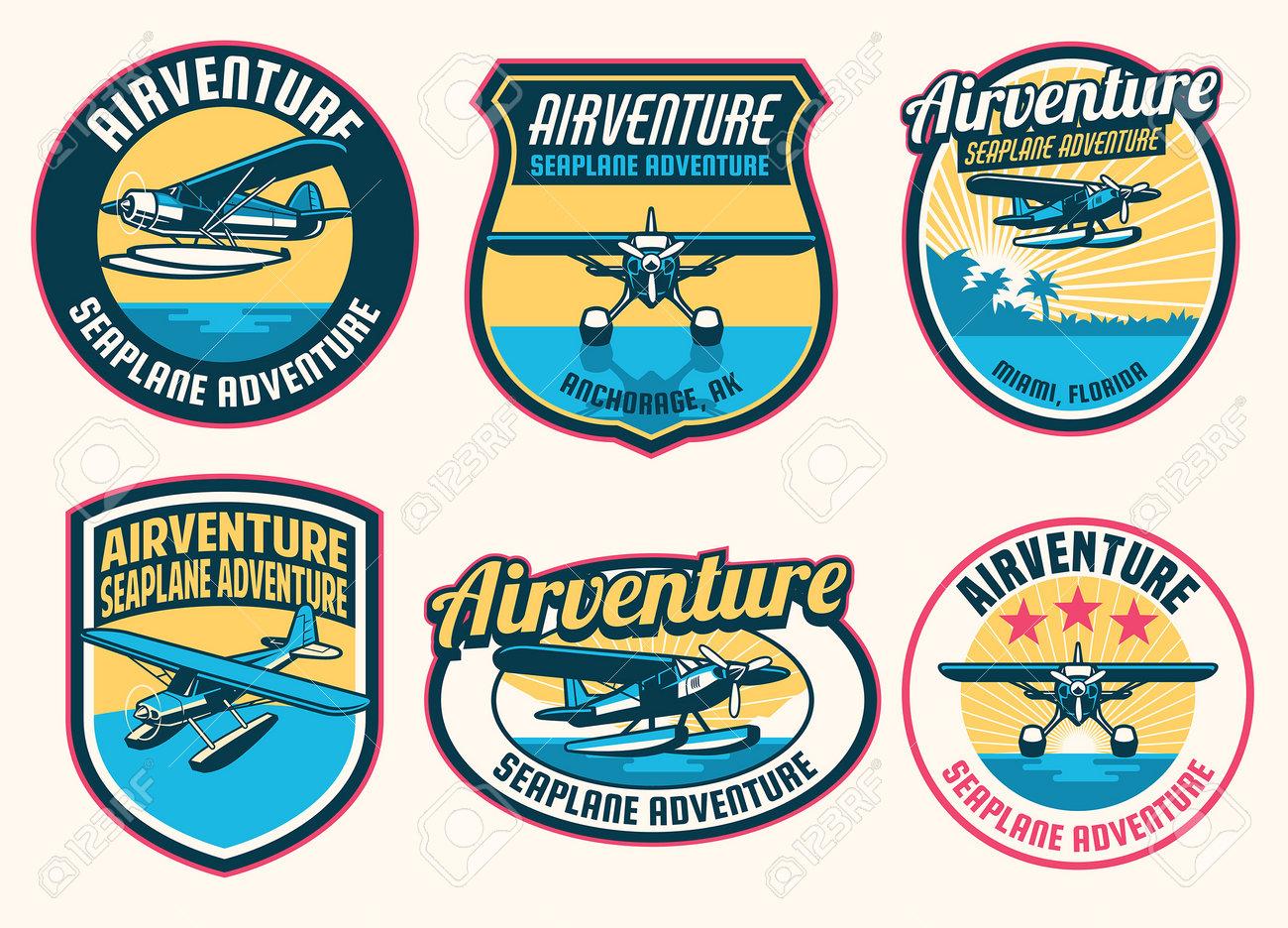 set of seaplane badge design collection - 161958406