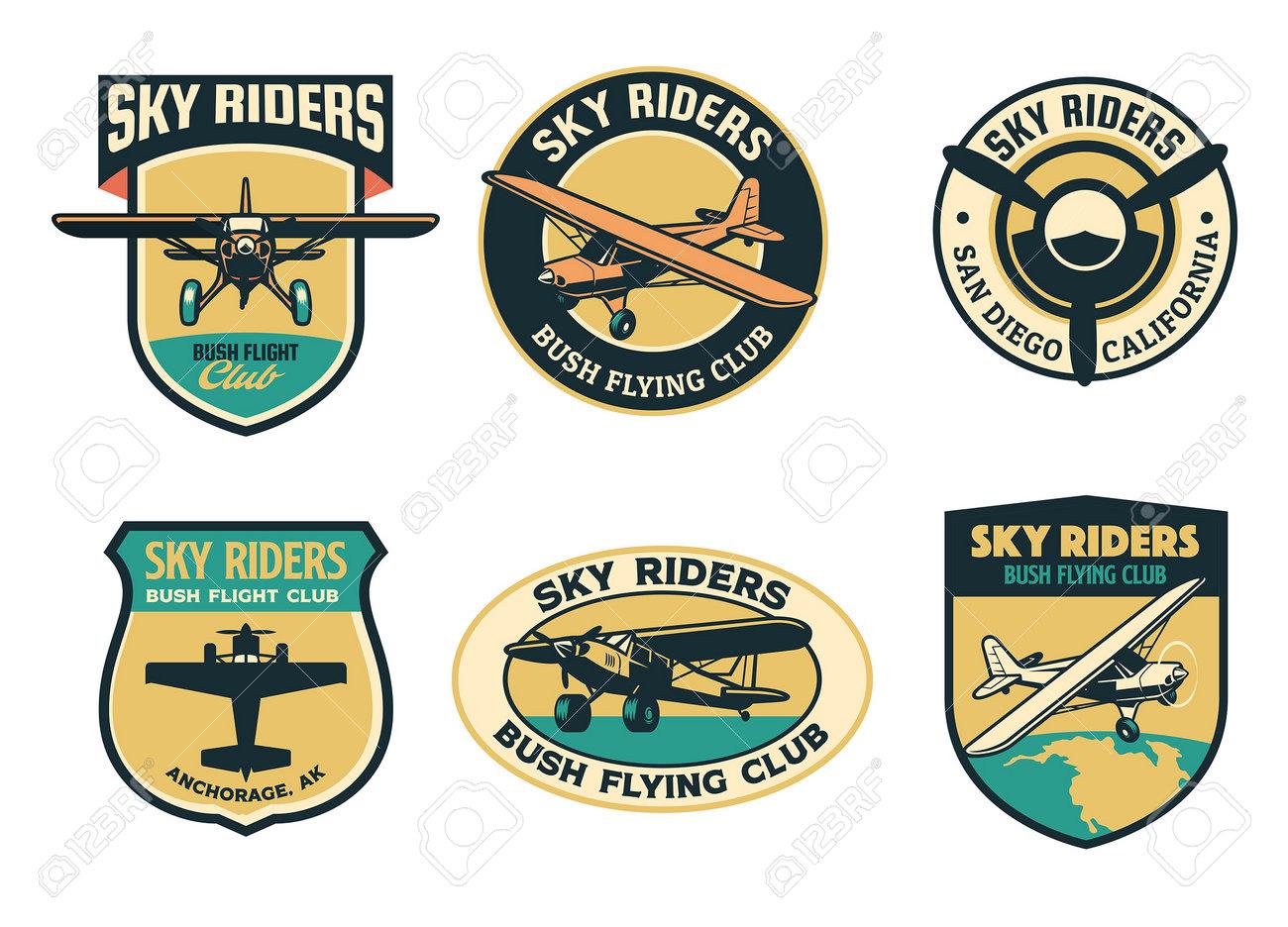 set of vintage bush flying badge design - 161958441