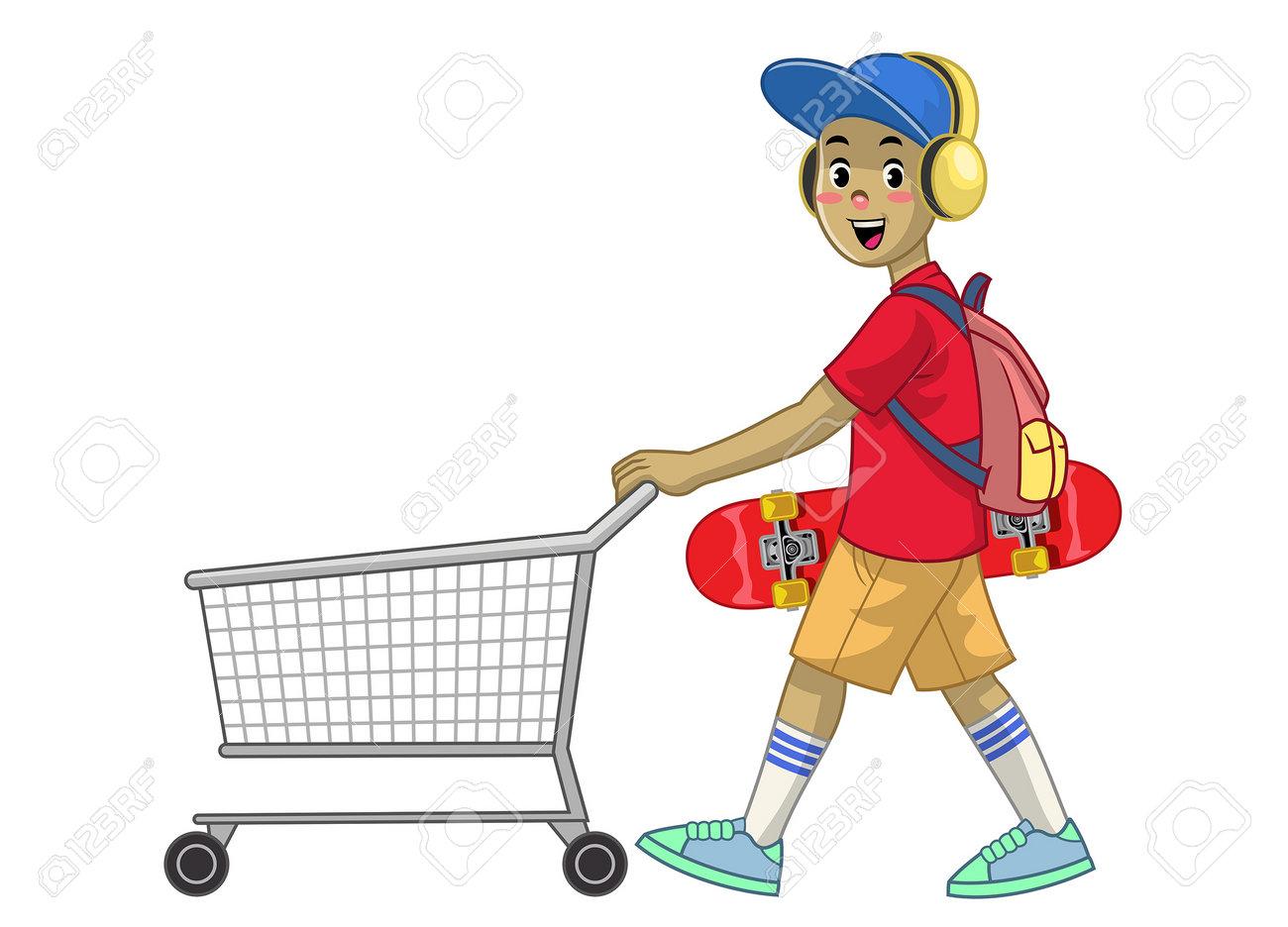 cartoon skater boy pushing the shopping cart - 161958448