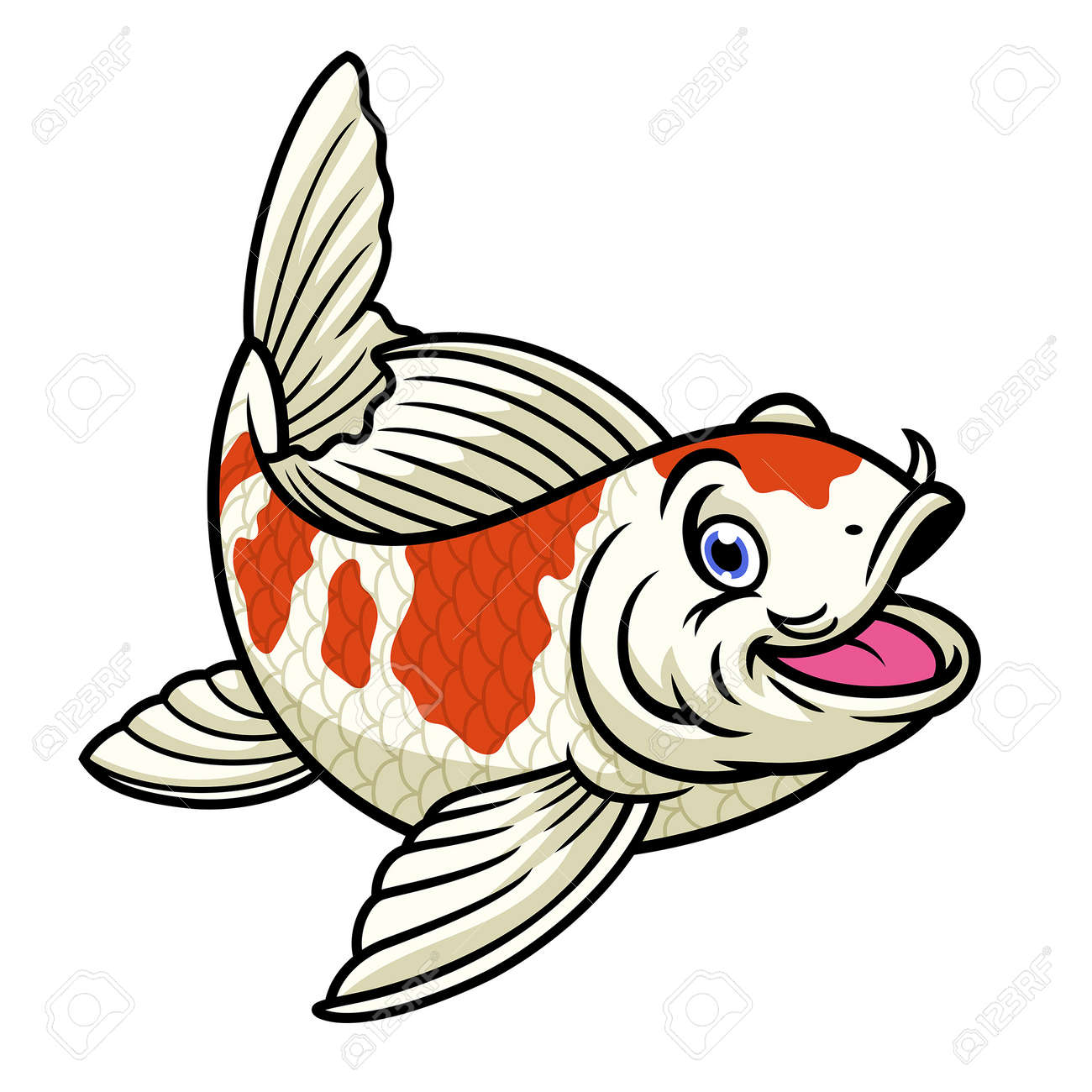 cartoon character of cute red and white koi fish - 163987826