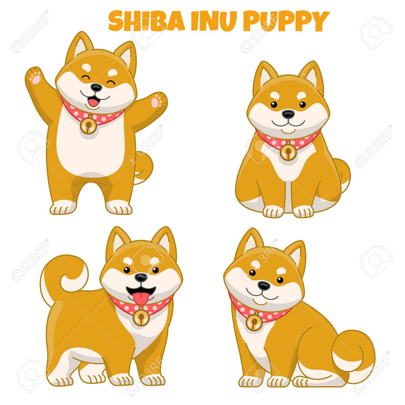 vector set of cute shiba inu puppy dog - 163987835