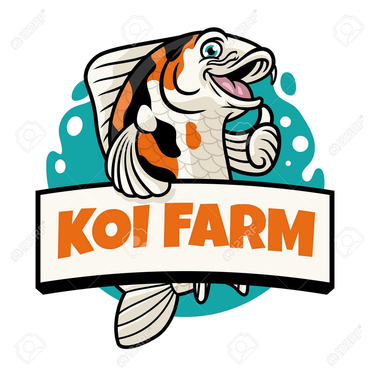 thumb up pose of cute cartoon koi fish - 163987836