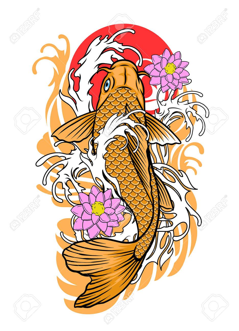 vector of koi fish tattoo design in vintage look - 163540991