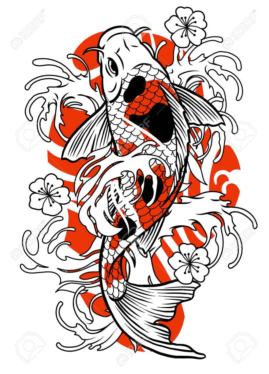 vector of vintage tattoo of koi fish design - 163541158
