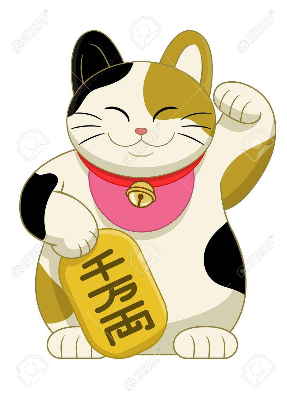 vector of japan cute maneki neki cat - 163987842