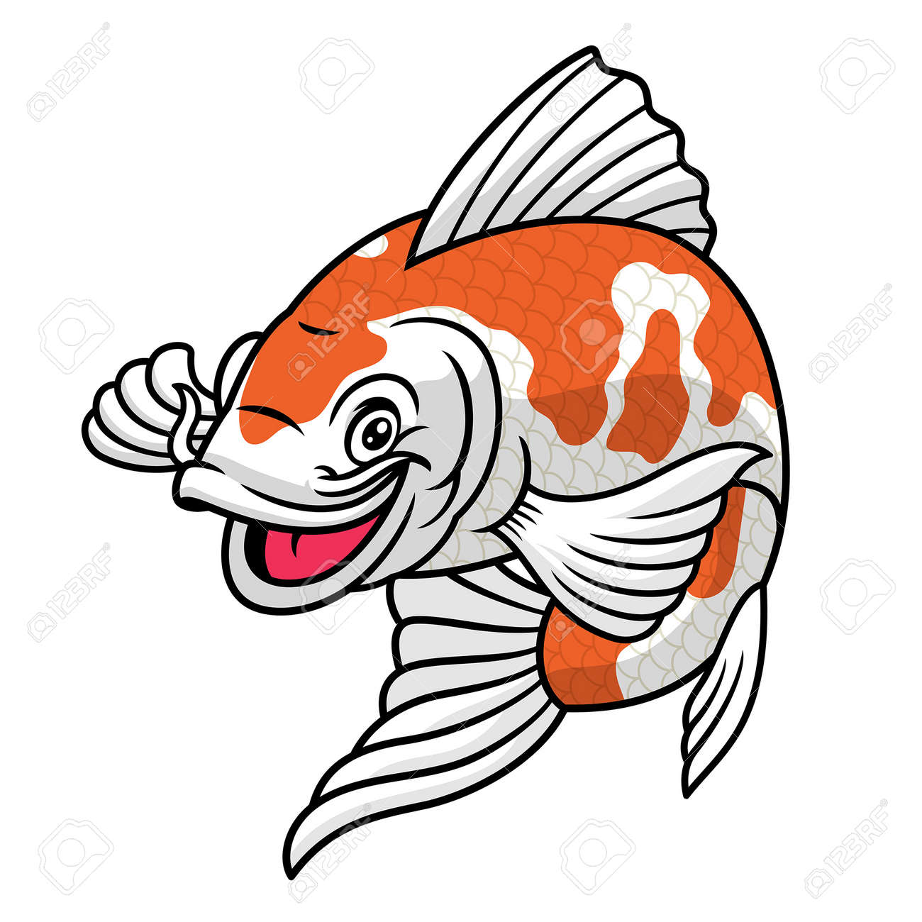koi fish cartoon character - 163540877