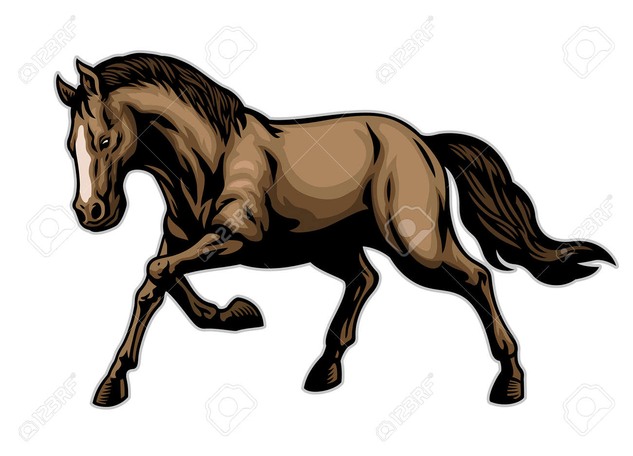 vector of brown horse in hand drawn style - 165300920