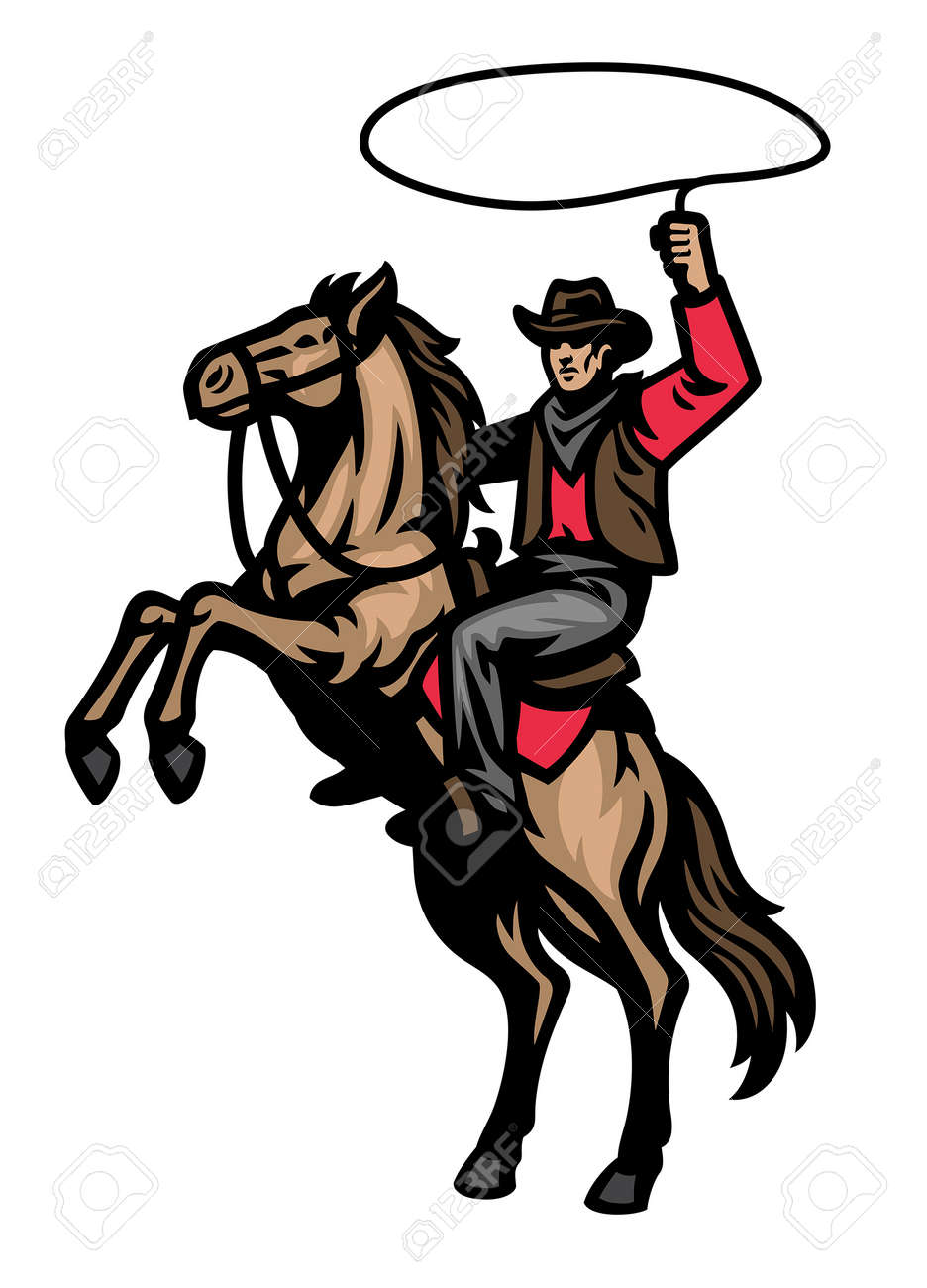 vector of cowboy mascot riding the standing horse - 165301205