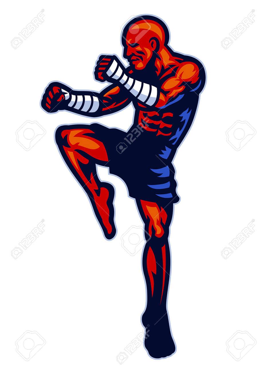 vector of muay thai fighter mascot pose - 165301218