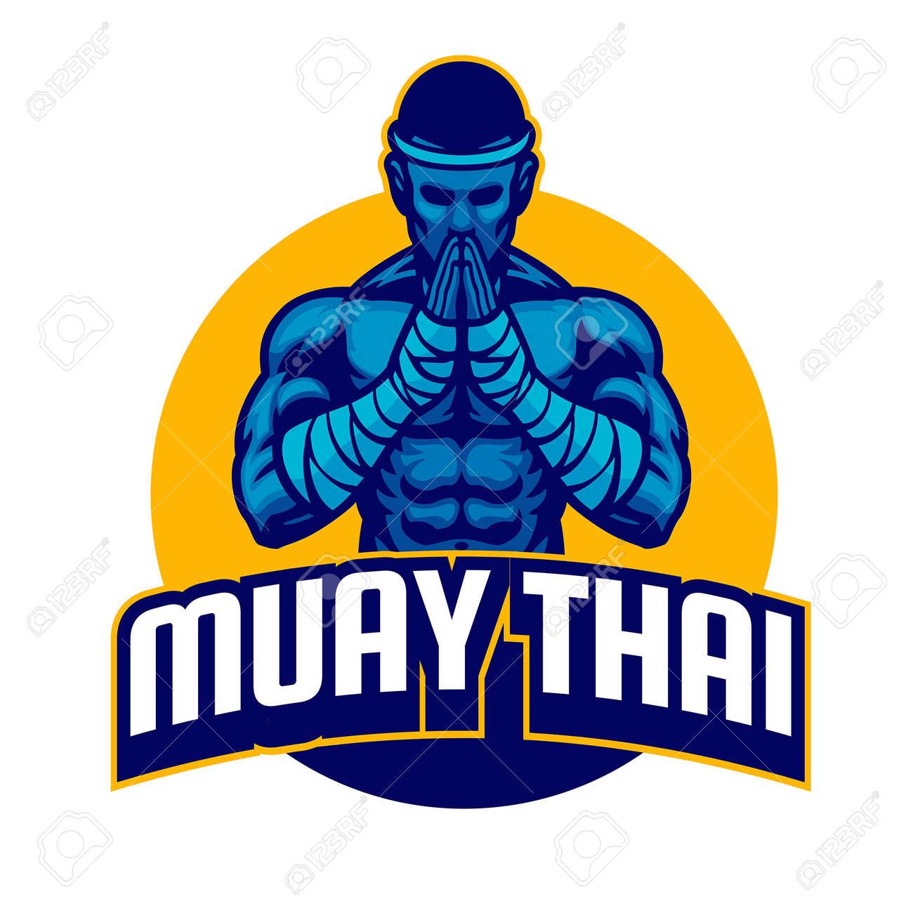 vector of muay thai fighter salute posing - 165301239