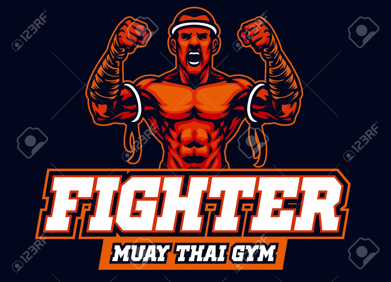 vector of mascot of muay thai fighter - 165301243