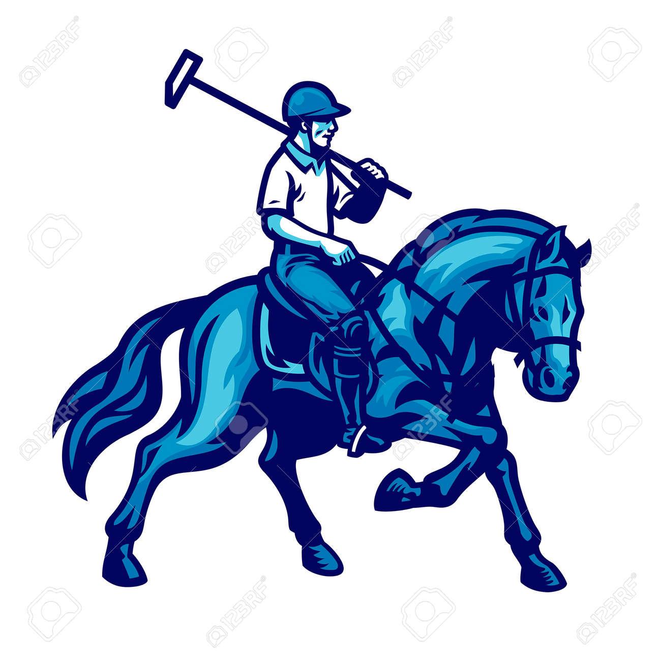 vector of polo player riding the horse - 165301245
