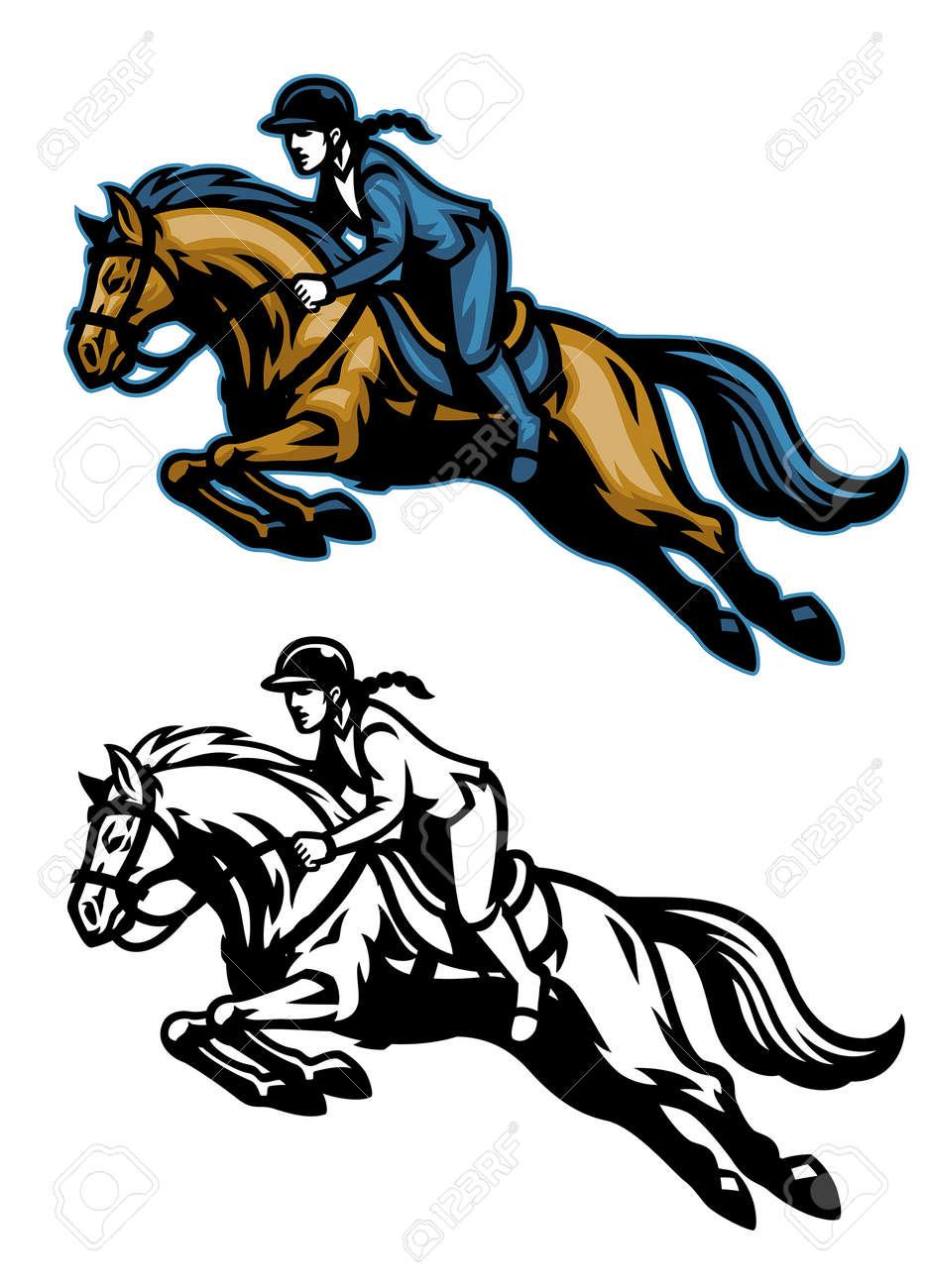vector of running equestrian horse mascot - 165301306