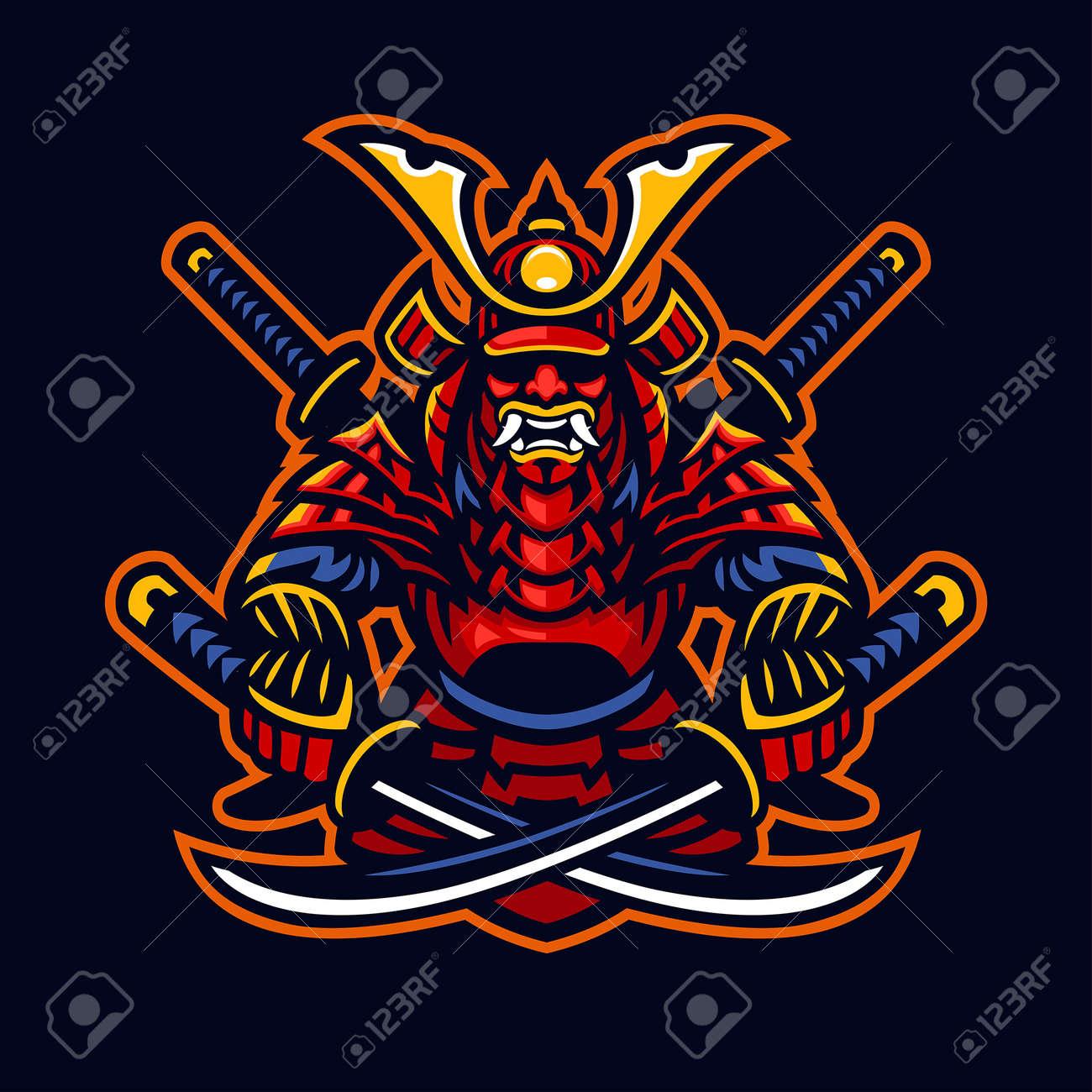 vector of samurai warrior e-sport mascot style - 165301315