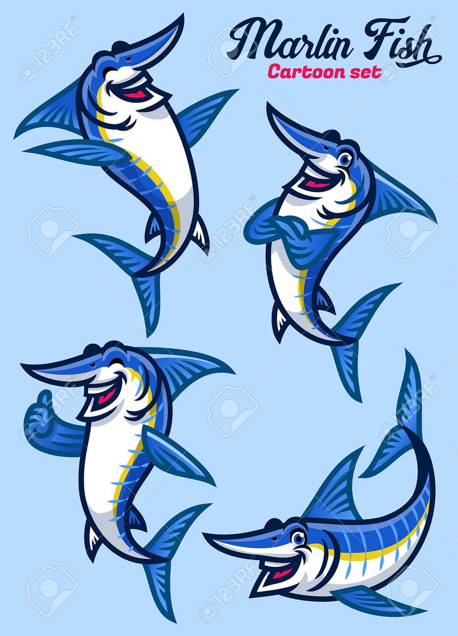 set of cartoon character of marlin fish - 168290945