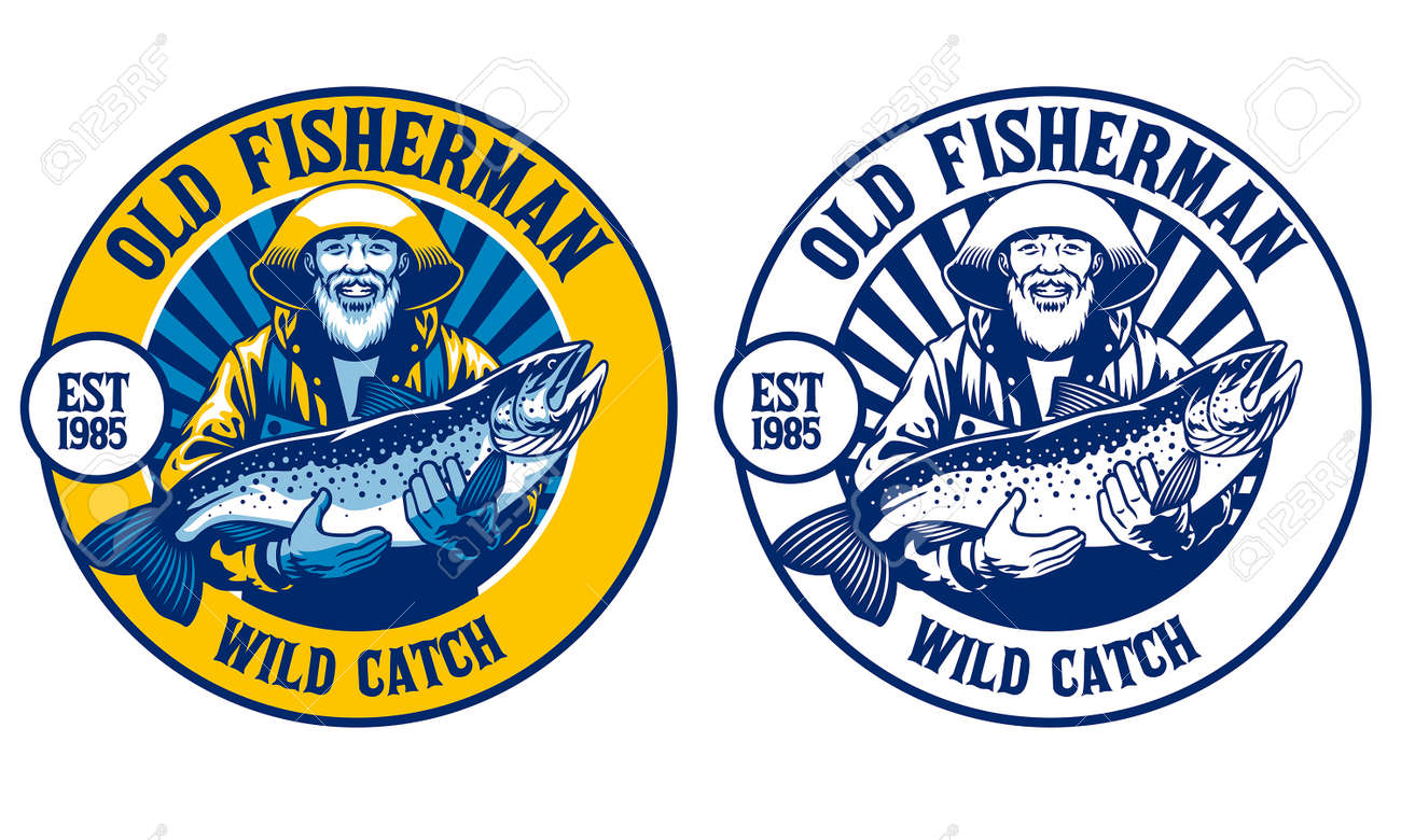 old fisherman with his big catch salmon fish - 168290946