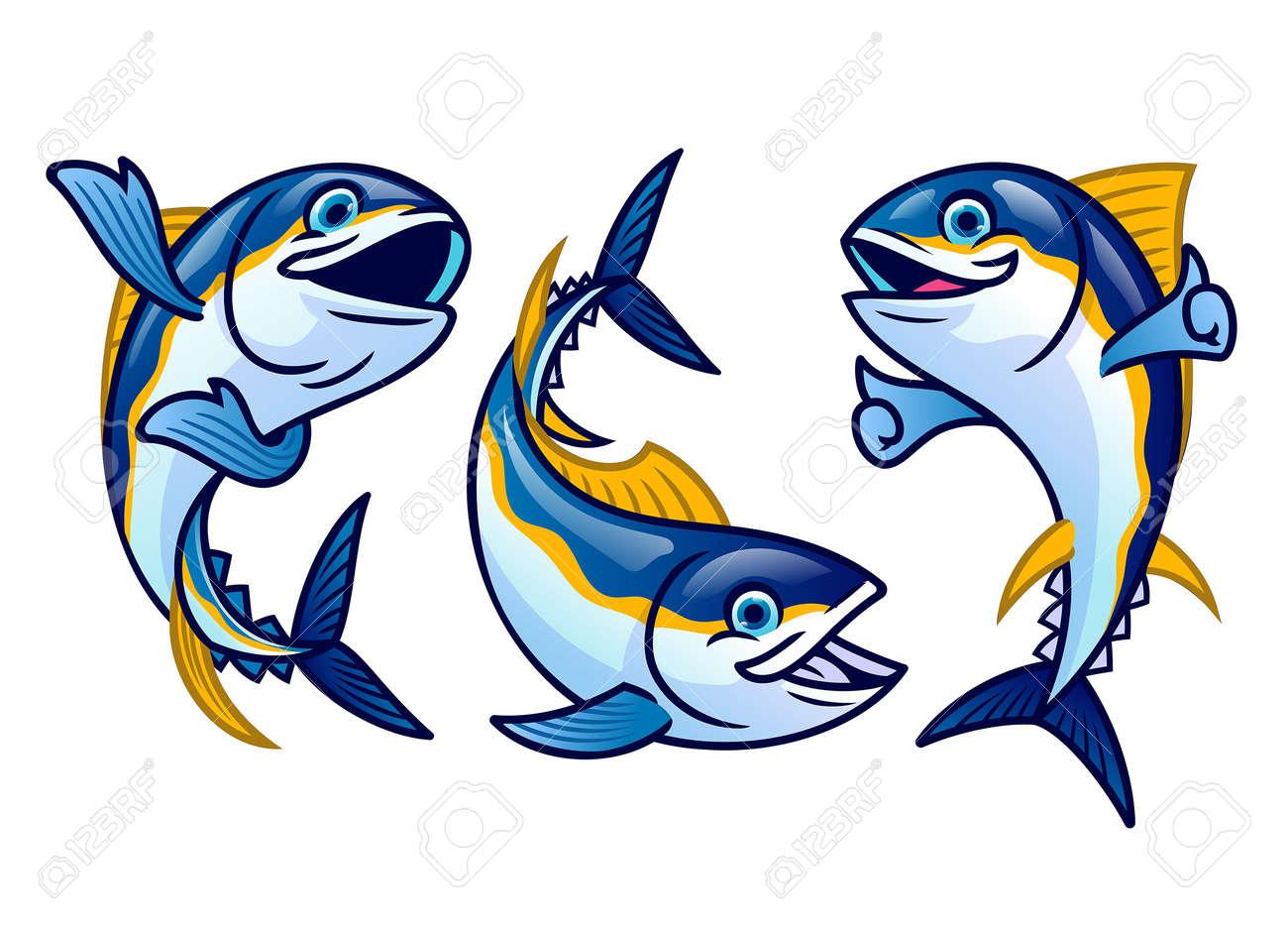 Set cute cartoon of tuna fish - 169099661