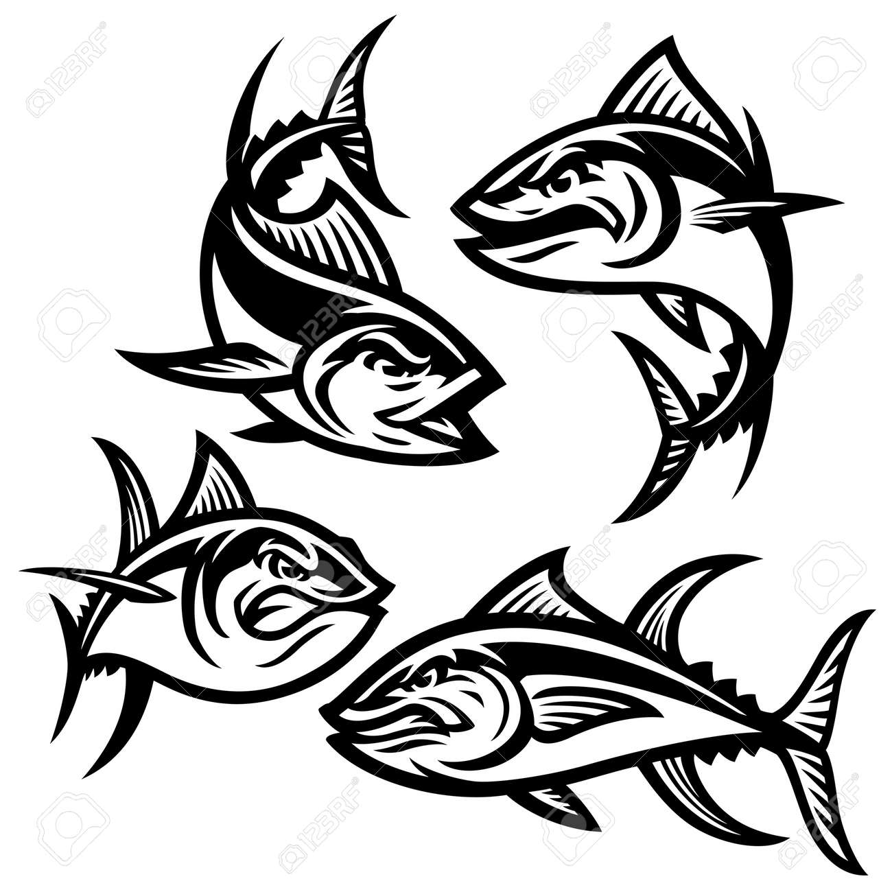 Set of tuna mascot cartoon character - 169099662