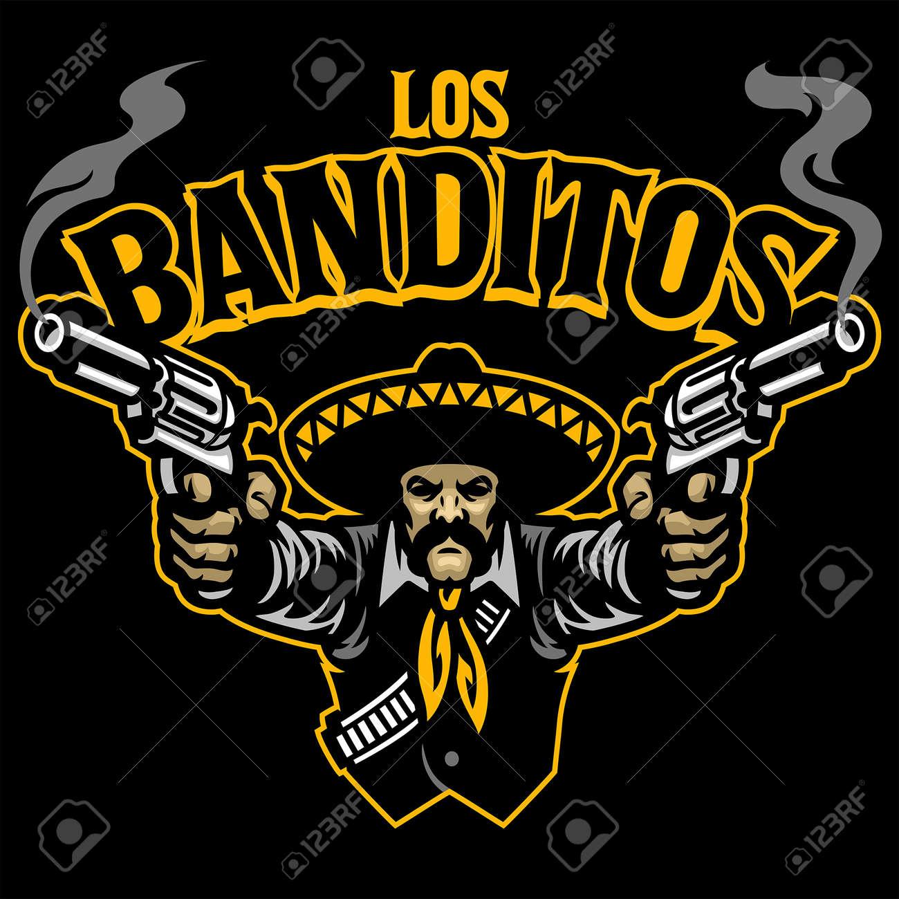 Mexican man aiming two guns - 169099658