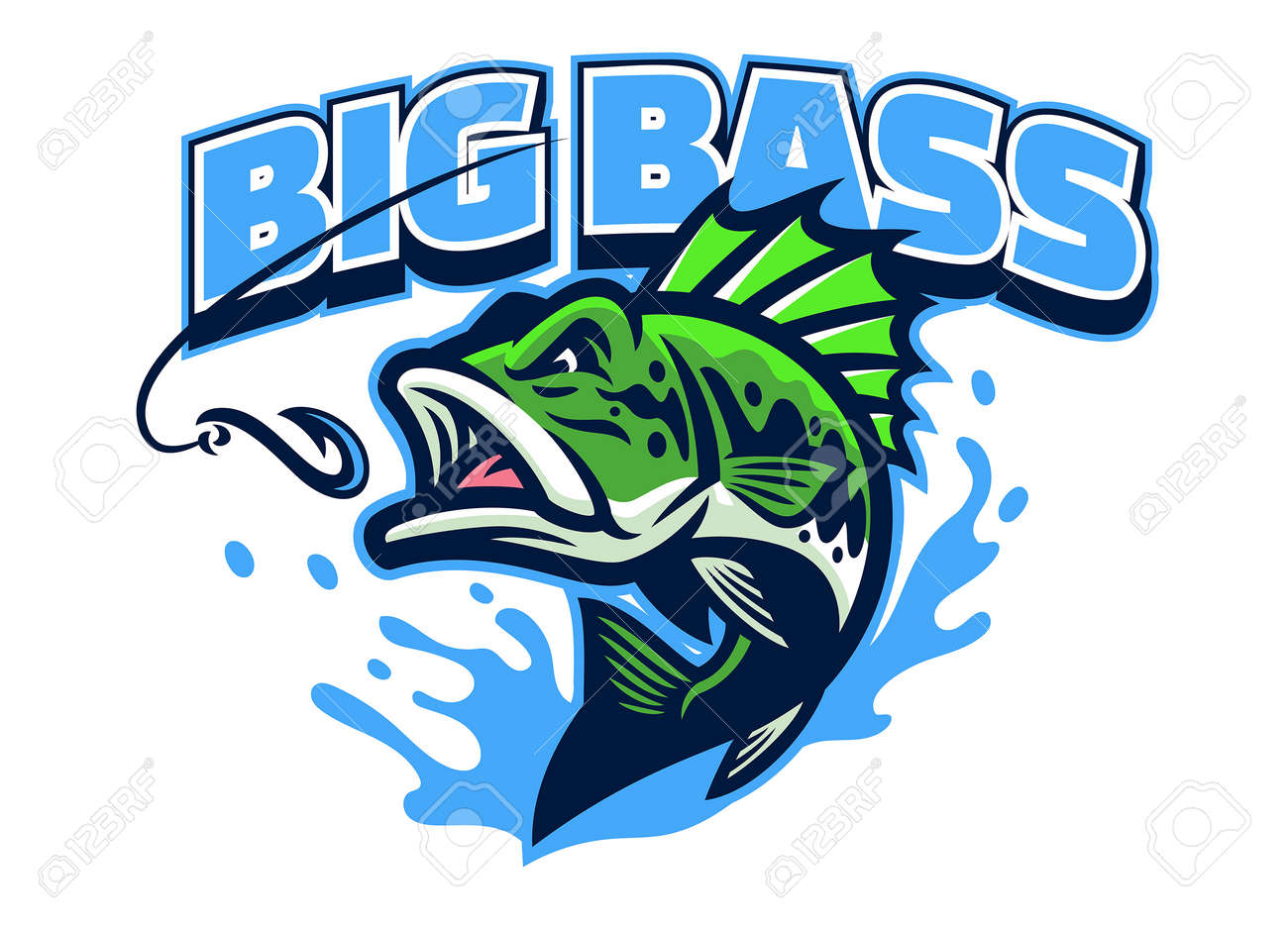 Largemouth bass fish mascot - 169099657