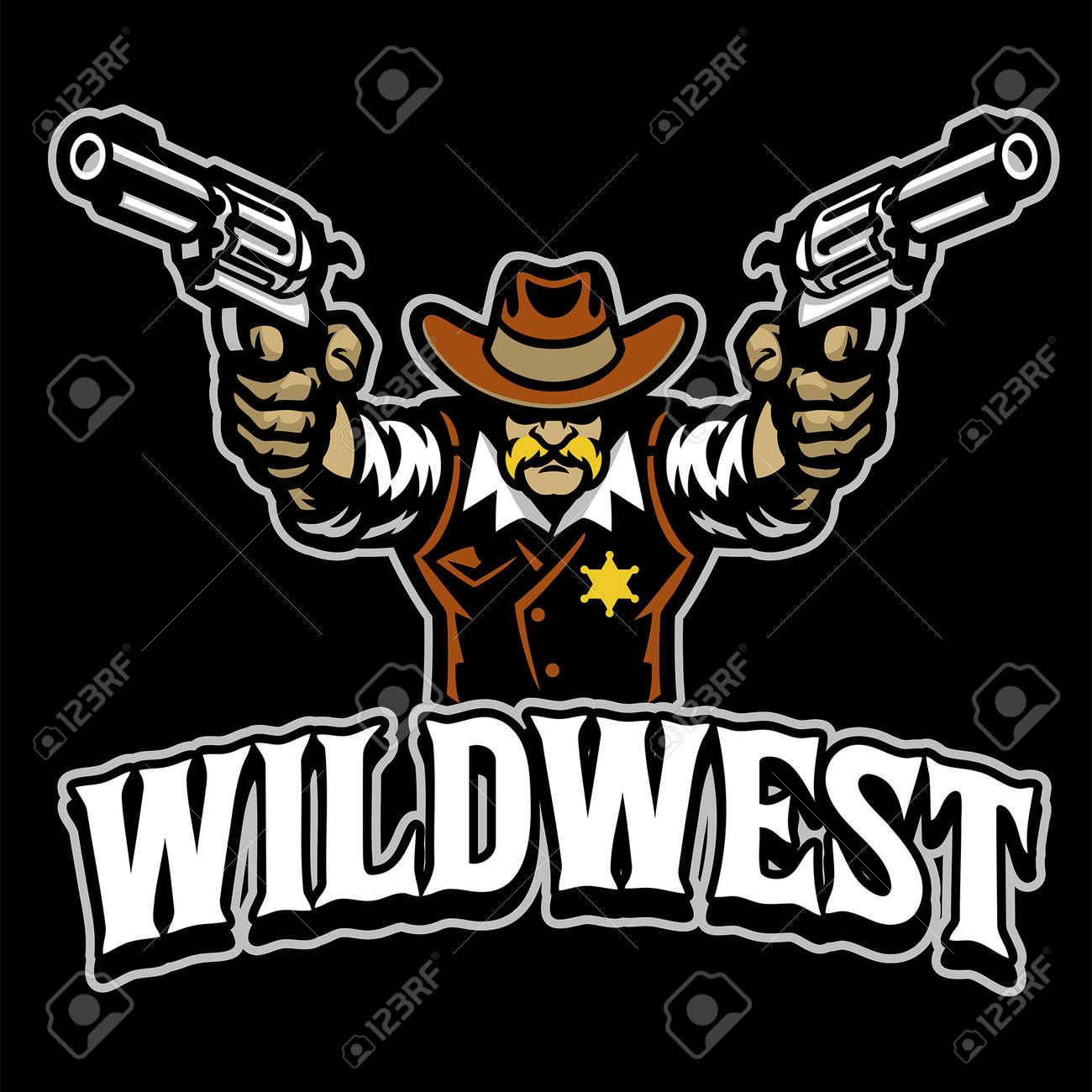 Cowboy mascot character with guns - 169099659