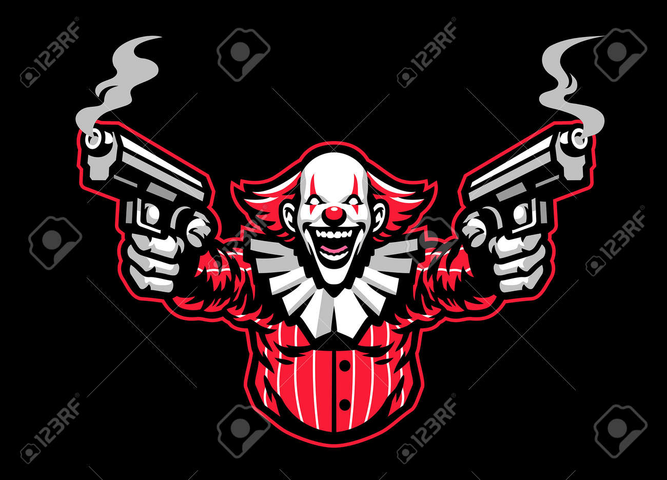 Scary look clown mascot character with the guns - 169099660