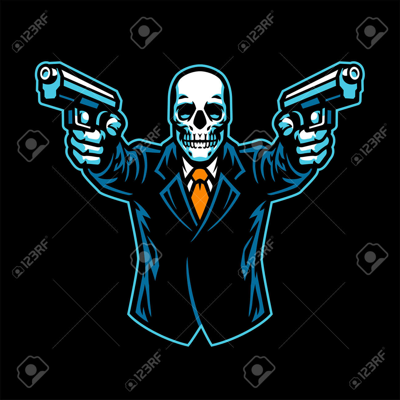 Skull wearing suit aiming the guns - 169099668