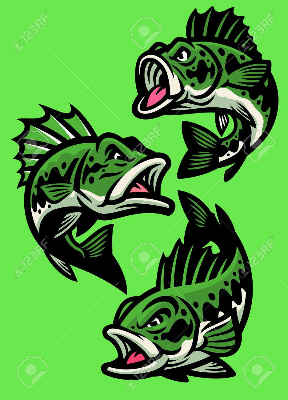 vector set of angry cartoon largemouth bass fish - 169099671