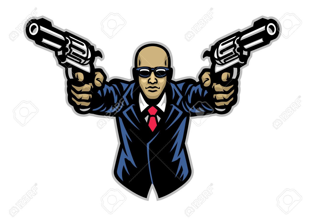 vector of suited gentlemen with pair of pistols - 169099670