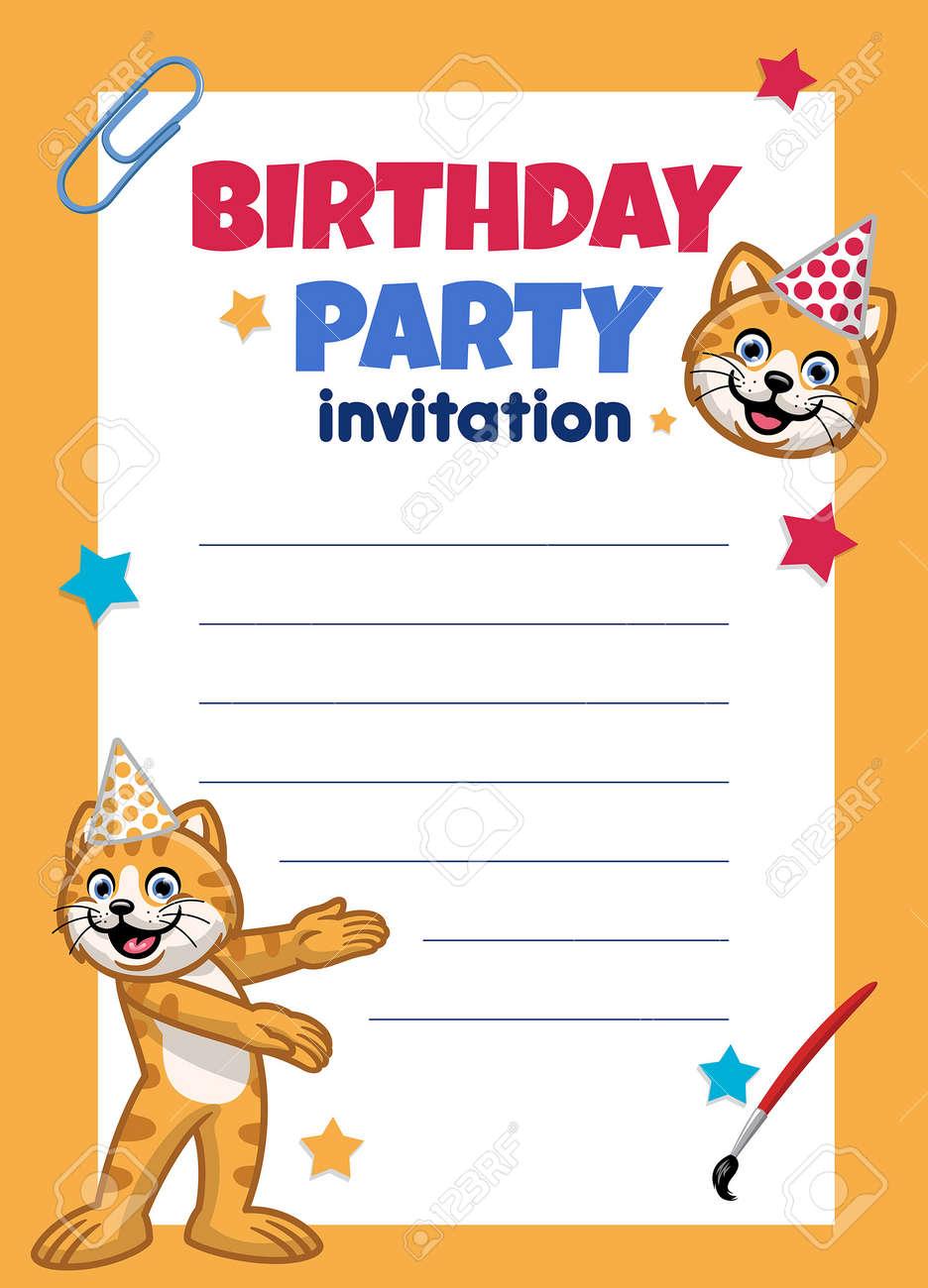 vector of birthday invitation design with cute cat - 170004759