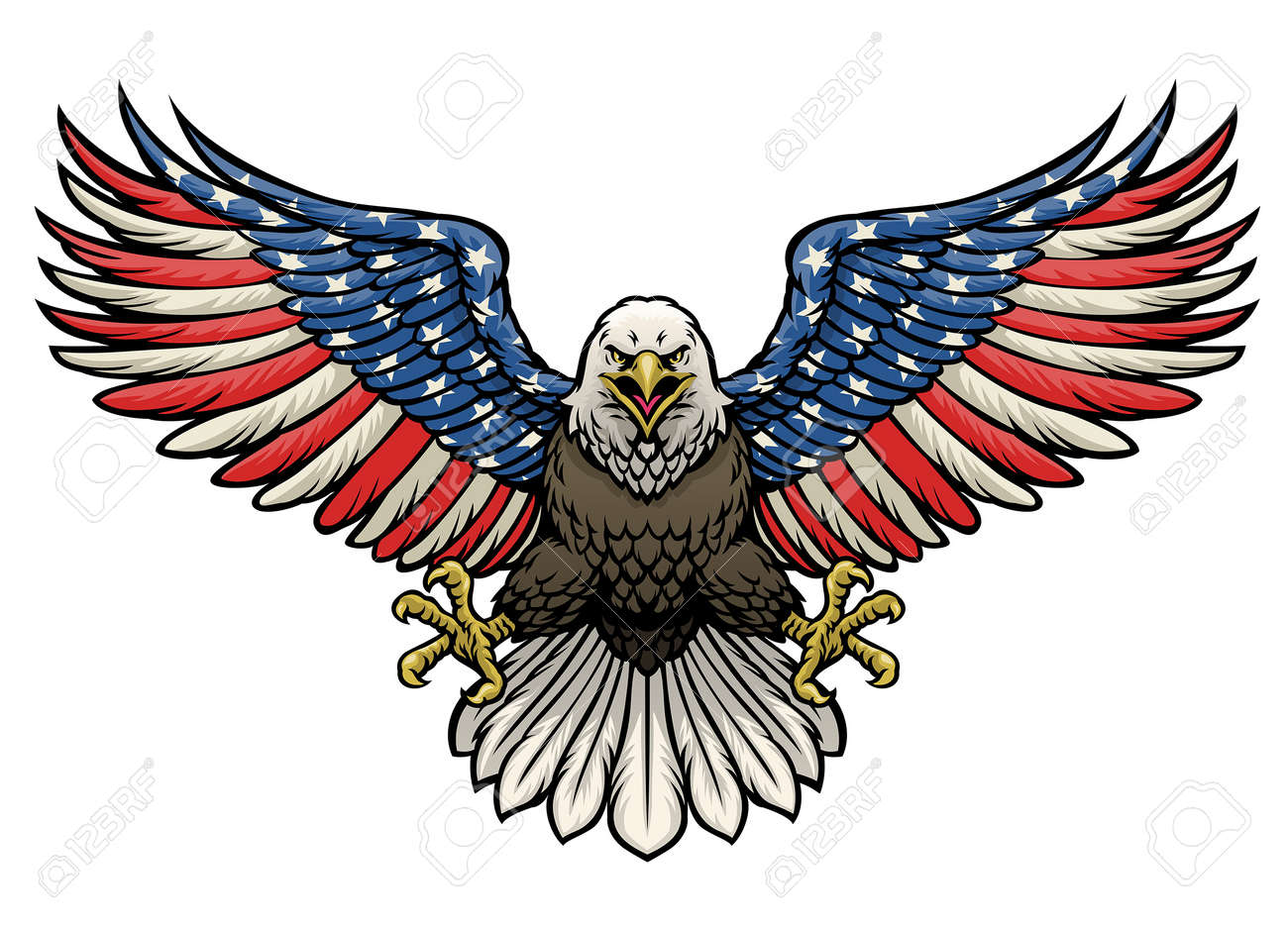 vector of american flag painted bald eagle - 171103887
