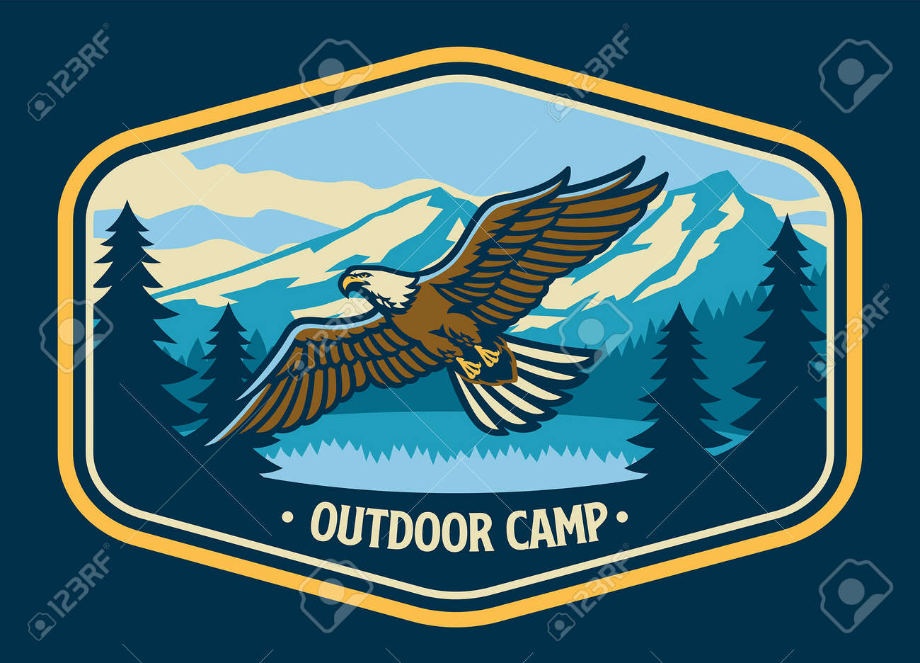 vector of vintage style outdoor logo with flying bald eagle - 171104011