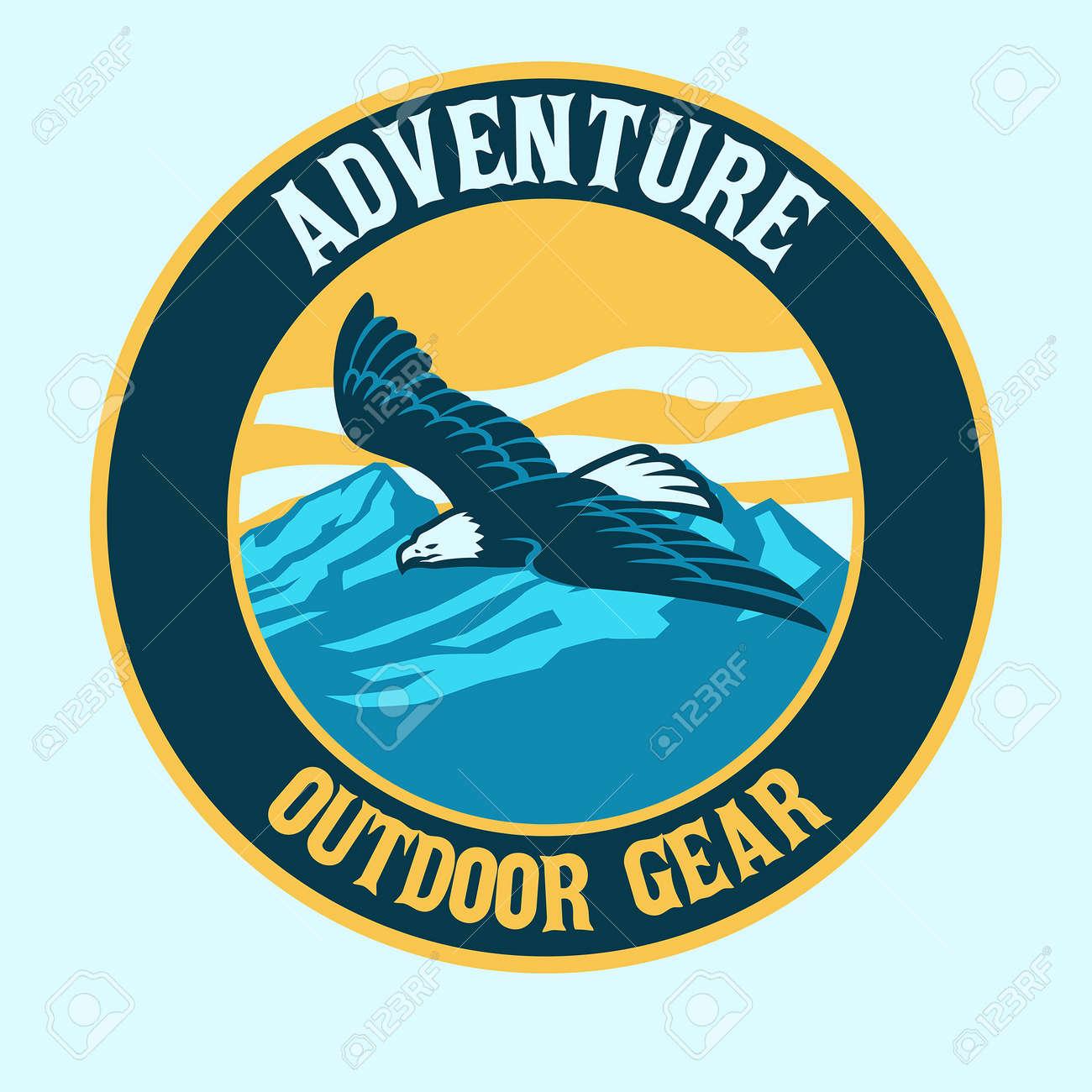 vector of bald eagle badge outdoor logo - 171104020
