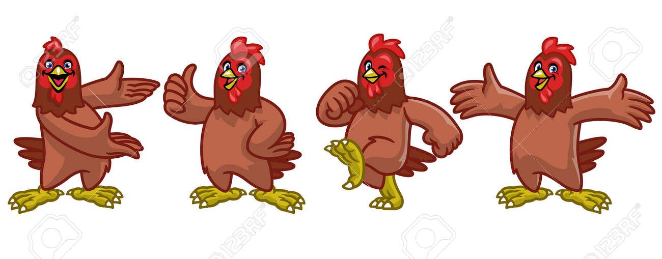 vector set cartoon character of funny chicken hen - 171370687