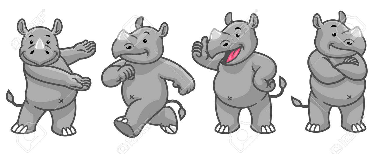 vector set cartoon character of funny rhino - 171370694