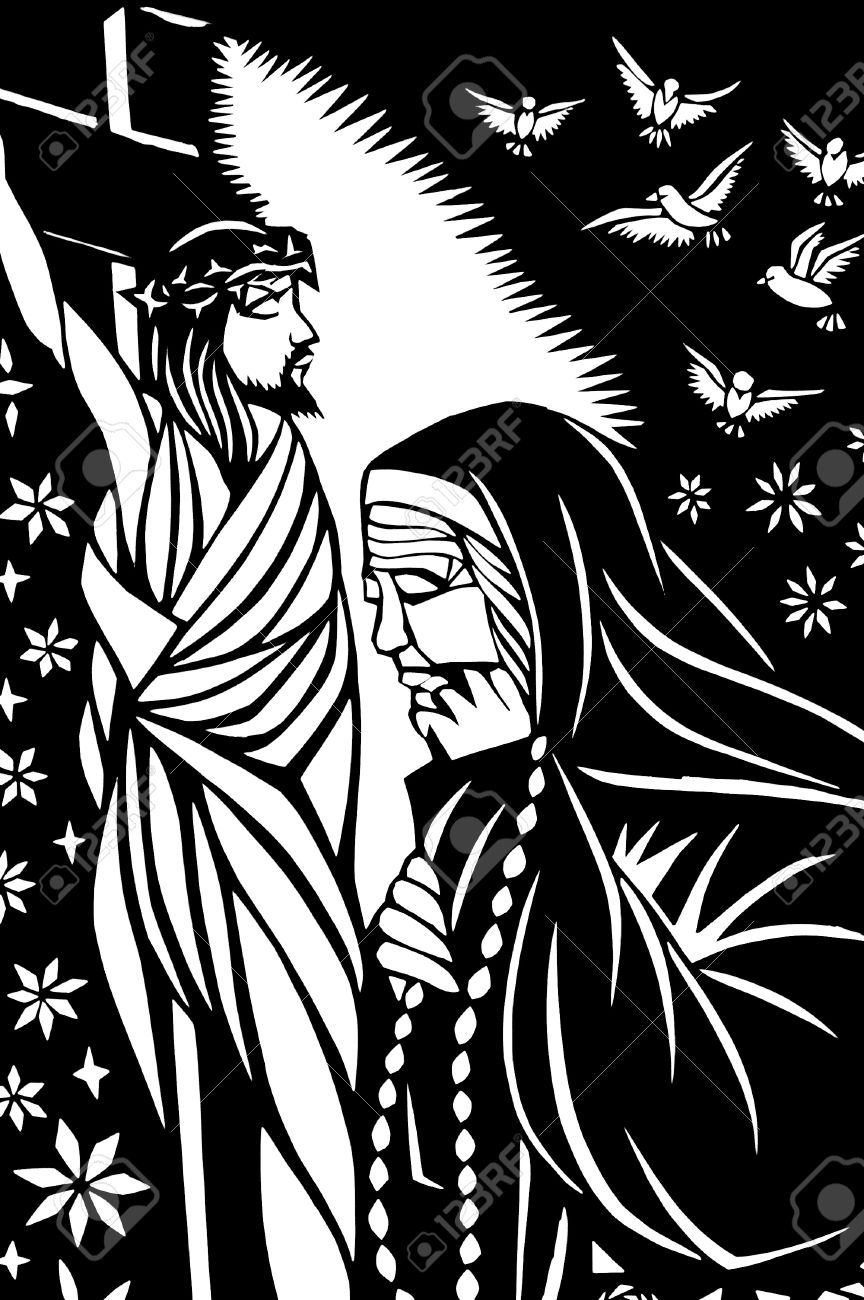 Paper-cutting of Jesus with an old sister in black-and-white Stock Photo - 8467031